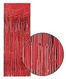 KRAFTZ® - Tinsel Shimmer Door Curtain 3ft x 8ft - Red