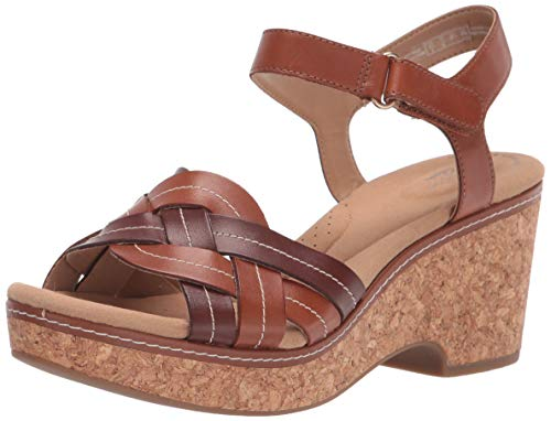 Clarks Women's Giselle Coast Wedge Sandal, Dark Tan Leather, 6W