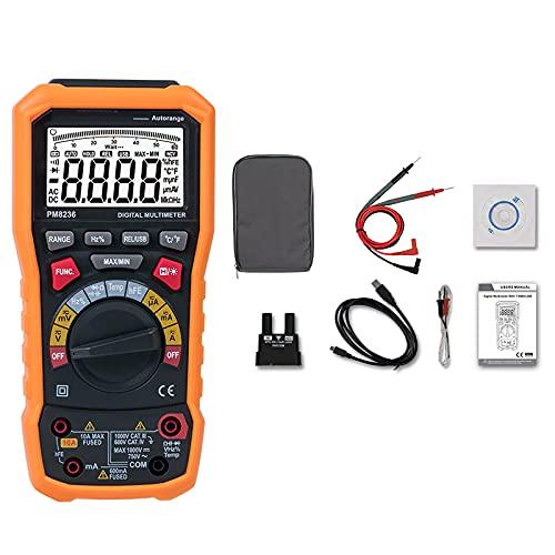 Nachar PM8236 - Multímetro digital inteligente, capacidad de prueba, frecuencia, resistencia, tensión y corriente para dispositivos electrónicos domésticos