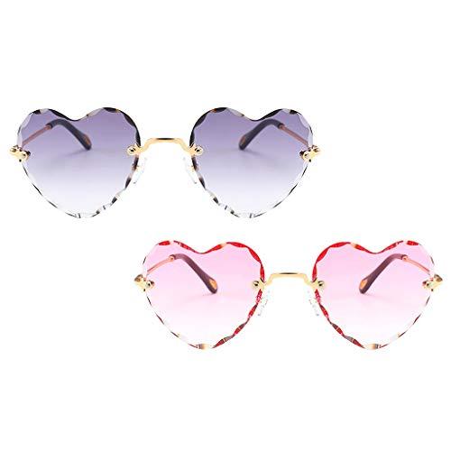 SM SunniMix 2pcs Mujeres Amor Corazón Gafas de Sol Retro Fiesta Teñido Lente Gafas UV 400