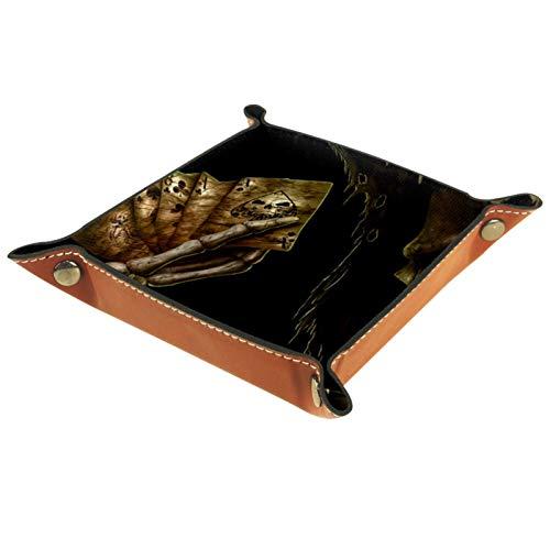 Caja de almacenamiento pequeña, bandeja de valet para hombre,Skull Hold Poker Dorado Negro,Organizador de cuero para llaves de caja de monedas