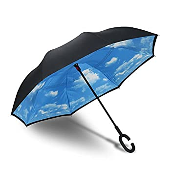 Procella Inverted Umbrella Large Windproof Double Layer Canopy Reverse Umbrellas for Car Rain Sun and Outdoor Use Hands-Free C-Shaped Handle UV Protection Blue Sky Design