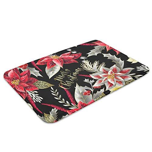 Bannanabut Fußmatte mit Weihnachtsmotiv, weich, saugfähig, waschbar, rutschfest, Gummi, für drinnen und draußen, Schmutzfangmatte für Haustür, weiß, 45,7 x 76,2 cm