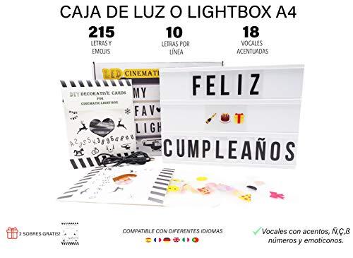 personajes emojis y s/ímbolos adicionales Maison /& White A4 Lightbox Signo de luz cinem/ática incluye 205 letras y Emojis y cable USB gratis Light Up Box Sign Personalizar mensajes Para ajustar la caja de luz cin Letras de reemplazo