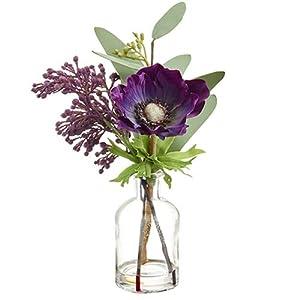 9.4″ Silk Anemone & Eucalyptus Flower Arrangement w/Glass Vase -Purple (Pack of 12)