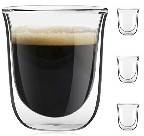 JoyJolt Javaah Double Walled Espresso Glasses Espresso Cups (Set of 4)- 2-Ounces