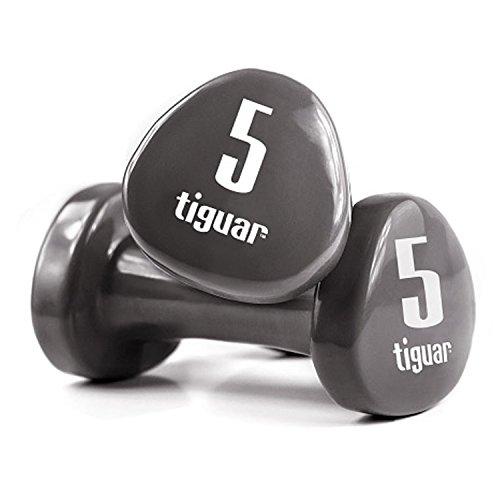 Tiguar Dumbbells - Juego de mancuernas con vinilo Pesos 0,5 kg, 1 kg, 1,5 kg, 2 kg, 3 kg, 4 kg, 5 kg., Grafito, 5 kg.