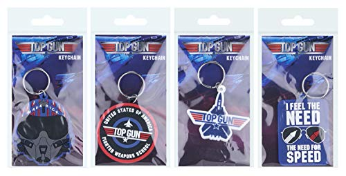 Set of 4 x Top Gun Maverick 2D Rubber Keychains, Ideal for Collectors, Party Bag Fillers, Pass The Parcel Prizes or Stocking Filler