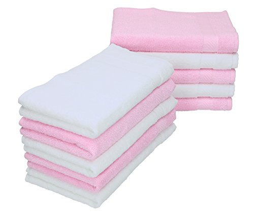 Betz Lot de 10 Serviettes débarbouillettes lavettes Palermo Taille 30x30 cm Couleurs Blanc & Rose
