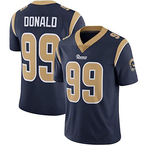 ZJFSL NFL Fußball Trikot Herren Rams # 30 Gurley II 99 Donald 16 Goff Legend II NFL Fußball Trikot Kurzarm Sport Top T-Shirt,navy-99,L