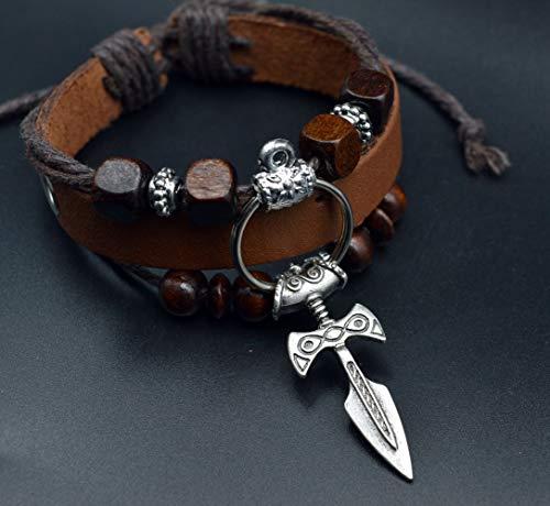 CNZXCO Brazalete Vikingo, Pulsera Vikinga Hombre, Amuletos De La Suerte Y Proteccion, Viking Rune Sword Colgante, Pulsera De Cordón De Cuero Hecho A Mano