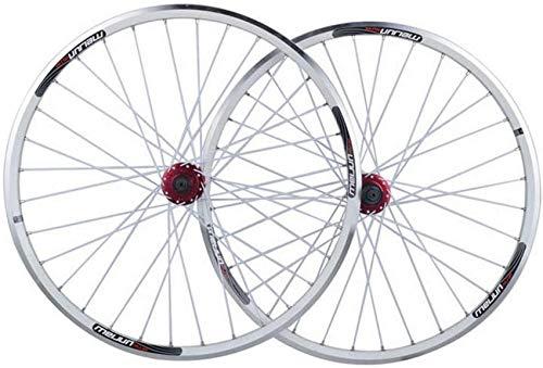 Juego de ruedas para bicicleta MTB de 26 pulgadas, doble pared, aleación de aluminio, llanta de bicicleta, freno en V/freno de disco, liberación rápida, 32 orificios, 7 8 9, 10 velocidades, disco d