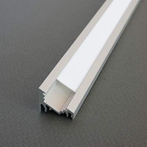 LED Profil CORNER-T ALU 2m eloxiert + weiße Abdeckung, Set für Beleuchtung ALU Aluprofil Aluminium Profil 2Meter für LED Streifen