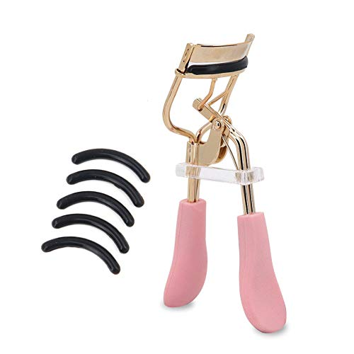 Bepholan Eyelash Curler with Black Advanced Silicone Pressure Pad Fits All Eye Shape No Pinching Pink Eyelash Curler