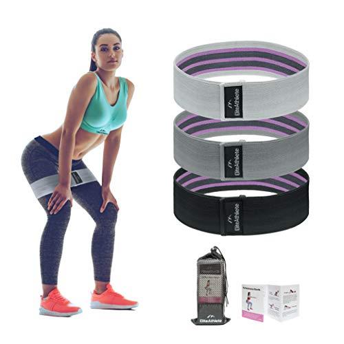 EliteAthlete Fitnessbänder, [3er Set] Premium Widerstandsbänder Set Loop-Band für Hüften und Gesäß, 3 Widerstandsstufen für Hintern, Beine und Ganzkörpertraining, Resistance Hip Bands aus Stoff