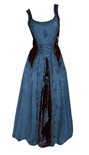Dark Dreams Gothic Mittelalter LARP Kleid Samt bestickt Schnürung Guinerva, Farbe:blau, Größe:S/M