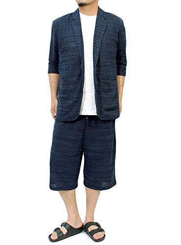 セットアップ メンズ 大きいサイズ 七分袖 スラブ サマーニット 薄手 テーラードジャケット ショートパンツ...