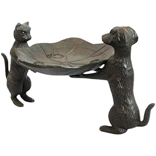Bird Baths Vintage Garden Birds Food Bowl, Bird Feeders, Lotus Leaves Shaped Tray with Dogs and Cats Pattern, Distressed Rust Color Finish (Size : 32×17×16.5cm/12.6×6.7×6.5in)