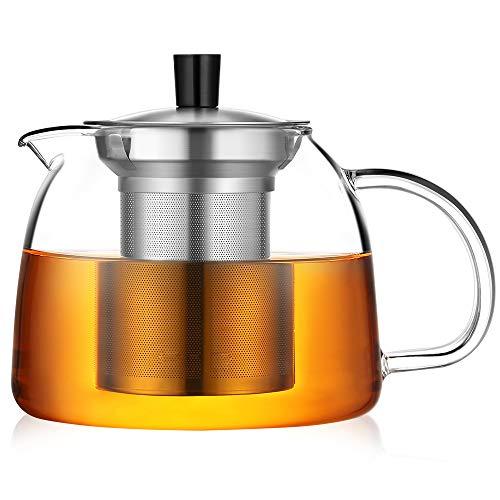 ecooe Teekanne 1000ml Dickes Glas Teebereiter mit Abnehmbare Edelstahl-Sieb Glaskanne