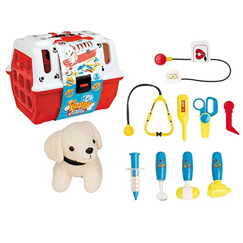 RUIGIN Bunte Kinder Spielzeug Doktor Set Tierarzt Pretend Play Arzt Spielzeug Set mit Plüsch-Hundepflege Zubehör Spielzeug für Kinder