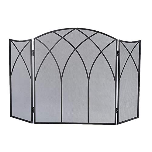 Spark Guard 3 Panel Safety Fence, Arched Wrought Iron Gas Fireplace Screen 26×11×31 Inch, Foldable Fire Spark Guard for Living Room Bedroom, Black