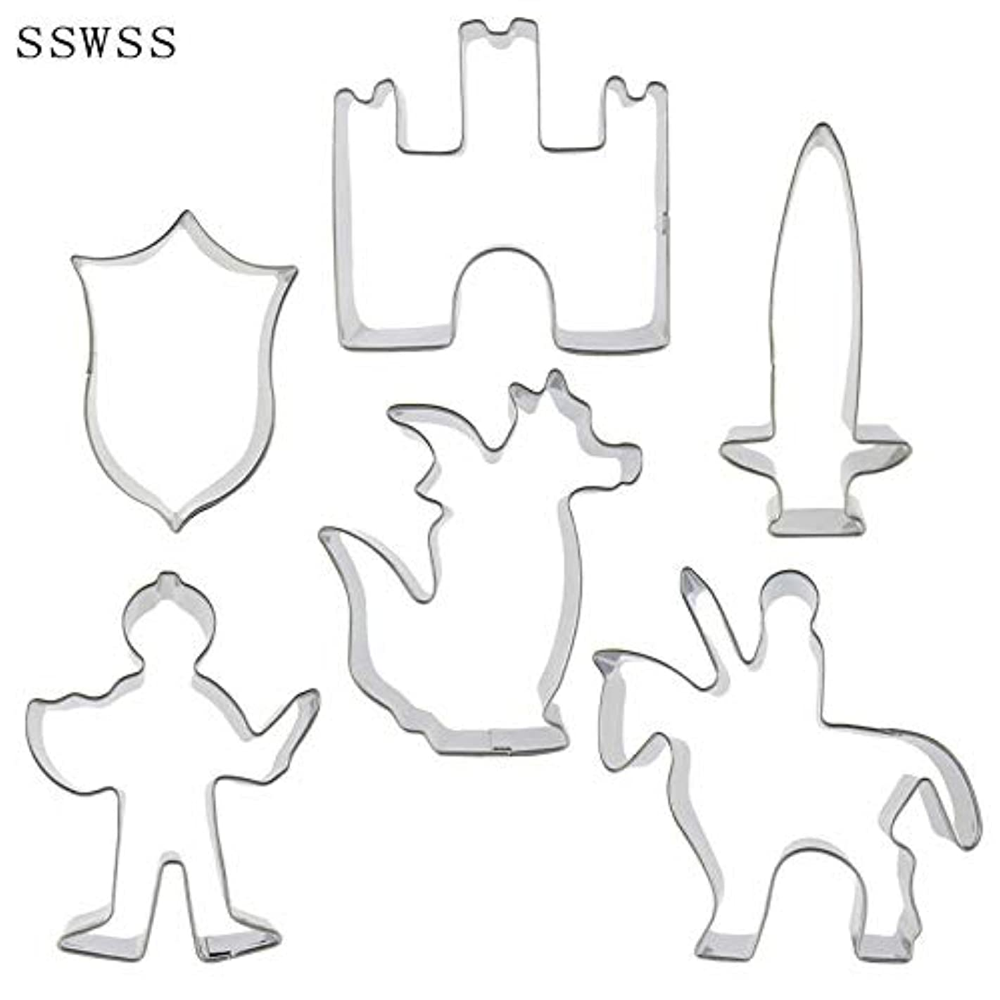 Six Cartoon Figure Warriors,knights,Fire Dragons,Castles,Swords,Shield Cookie Cutters Baking Molds,Cake Decorating Fondant Tools