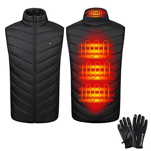 Elektrische Beheizte Weste Herren Damen mit Touchscreen-Handschuhen, USB Lade Beheizbare Heizweste Wärmeweste mit 3 einstellbar Temperatur, Winterweste Jacke für Outdoor und Tägliches Tragen