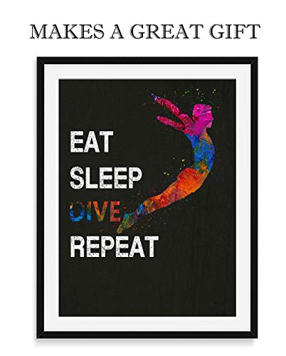Eat Sleep Dive Repeat Wall Art, 11x14 inch Unframed Sport Print, Great Gift Idea for Springboard and High Divers, Diving Coach, or Pool Diving Enthusiasts