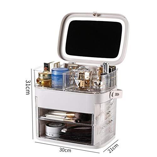 KUYG Make-up Taschen & Etuis Kosmetische Box Tragbare Schmuck Aufbewahrungsbox Reise Aufbewahrungstasche Toiletry mit Spiegel