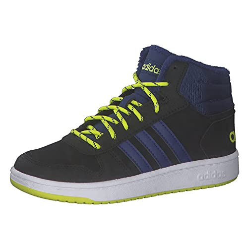 adidas Hoops Mid 2.0 Basketballschuh, Core Black/Victory Blue/Acid Yellow, 38 2/3 EU