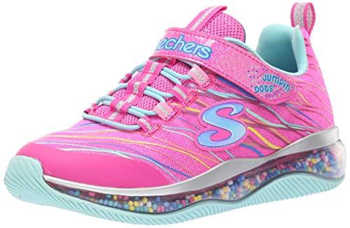 Skechers Kids Girl's Skech-AIR JUMPIN'DOTS Shoe, neon Pink/Multi, 3 Medium US Little Kid