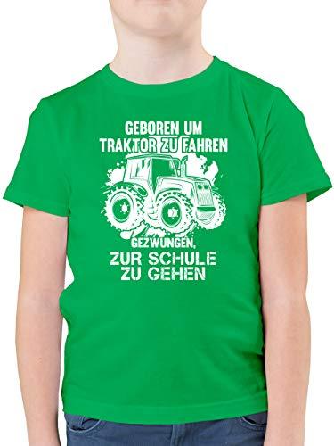 Fahrzeuge Kind - Geboren um Traktor zu Fahren - 116 (5/6 Jahre) - Grün - Tshirt Kinder trecker - F130K - Kinder Tshirts und T-Shirt für Jungen