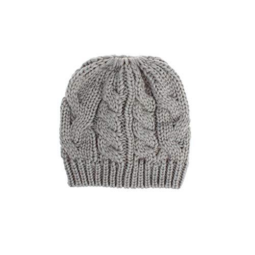 Ponytail Beanie Mütze Winter Strickmütze Chunky Cable Cap Weiche Stretch Beanie Mütze für Frauen Mädchen, Hellgrau