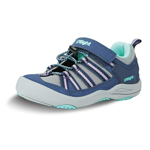 i78 Rainbow Low Top Kids Boys Girls Toddler Breathable Outdoor Hiking Shoes Non Slip Sneakers Running Trail Walking Casual(Blue Pink, Numeric_4_Point_5)