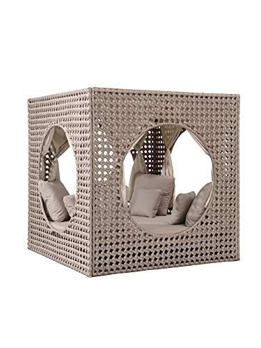 Strandkorbwerk Liegeinsel Cube Diamond Daybed Cappuccino mit Vorhängen Liege Loungemöbel Gartenlounge Polyrattan