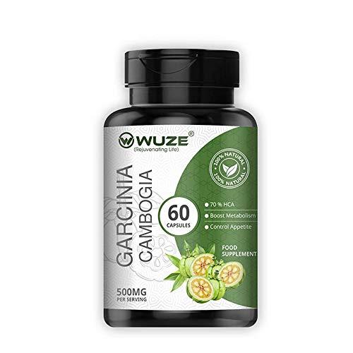 Wuze Pure Garcinia Cambogia (60% HCA)(Suppresses appetite Helps in Health Management)-500 MG 60 Vegetarian Capsules