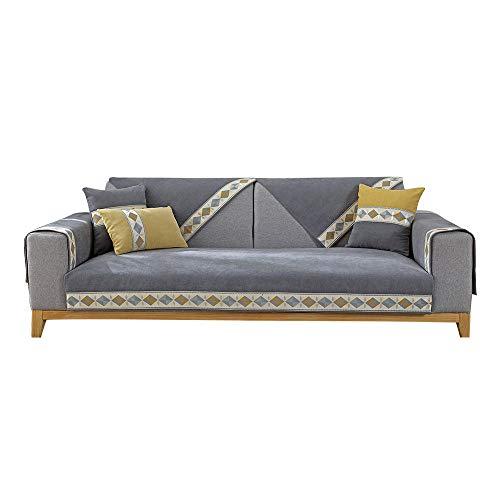 YUTJK Chenille Sofa Mat Non-slip Backside Blanket,Anti-slip Sofa Slipcover,Sofa Cover Four Seasons Universal,Pet Dog Couch Covers,Machine Washable Furniture Protector,for summer,Dark-grey