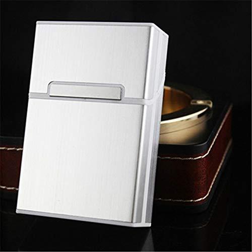 Winwinfly 1St. Metall-Zigarettenschachtel / -etui (20 Kapazitäten) - Zigarettenschachtel-Schutzhülle - Zigarettenetui aus gebürstetem Aluminium, Hardbox mit festem magnetischem Verschluss