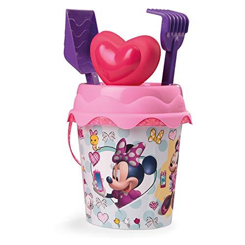 Simba- Mickey & Friends Cubo de Playa Minnie Mouse con Pala, rastrillo, Molde y tamiz, 17 cm, Color (863036)