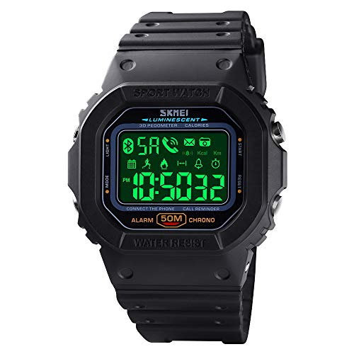 SKMEI Digital Watch for Men, Waterproof Military Wrist Watches with Pedometer Calorie Chronograph Call SMS Reminder LED Backlight Running Sport Watches for Men (Black)