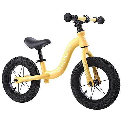 XGYUII Bicicleta infantil sin pedal adecuada para niños de 2 a 6 años de edad ultraligera marco de moda andante entrenamiento bicicleta equilibrio bicicleta blanco amarillo
