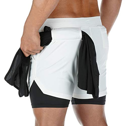 BOOMLEMON Men's 2-in-1 Running Workout Shorts Gym Running Athletic Short with Towel Loop(White XL/Tag 3XL)
