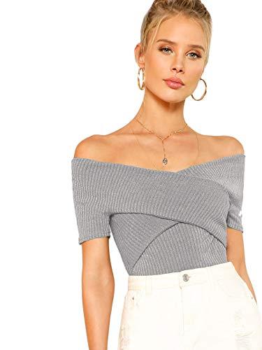 DIDK Damen Schulterfrei Crop Shirts Einfarbig Slim T-Shirt Kurzarm Oberteile Tops Sommershirts Kurzarmshits Elegant Blusen Grau S