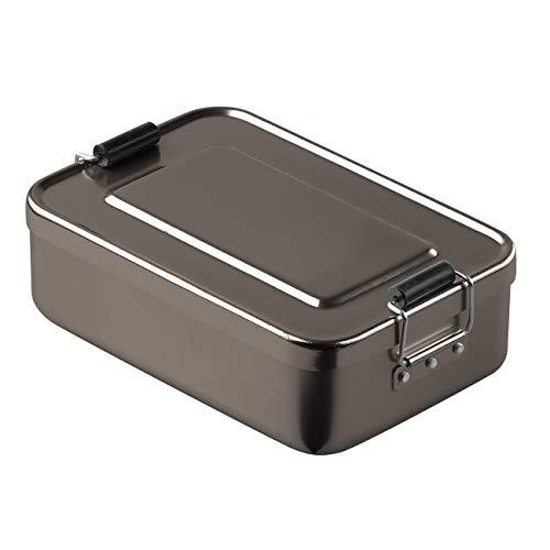 elasto Robuste Brotdose Brotbüchse Lunchbox Aluminium Vesperdose Pausenbox BPA-Frei Vorratsdose Brotdose aus Metall 18 x 12 x 5cm (Anthrazit)