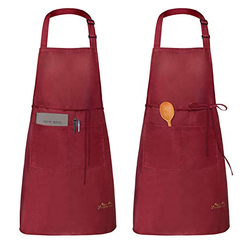 Viedouce Aprons for Women with Pockets Men Waterdrop Resistant Xmas Aprons BBQ Kitchen Cooking Dishwashing Painting Crafting 2 Pack, Red