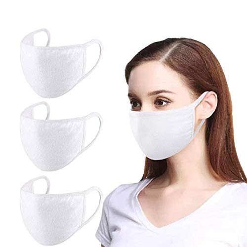 3 Pack Unisex Mouth Mask Adjustable Anti Dust Face Mask,White Cotton Mouth Mask Muffle Mask for Cycling Camping Travel,100% Cotton Washable Reusable Cloth Masks