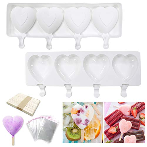 Popsicle Molds Ice Cream Silicone Heart Shape Mold 4 Cavities Homemade Popsicle Molds for Kids with 50 Wooden Sticks amp 100 Parcel Bags for DIY Ice Cream