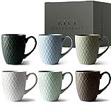 KIVY® Juego de 6 Tazas de Desayuno [400 ml] – Tazas de Café de Alta Calidad con Asa Grande – Tazas de Cerámica Grandes – Juego de Tazas de Café Mate – Juego de Tazas Originales para Café y Té