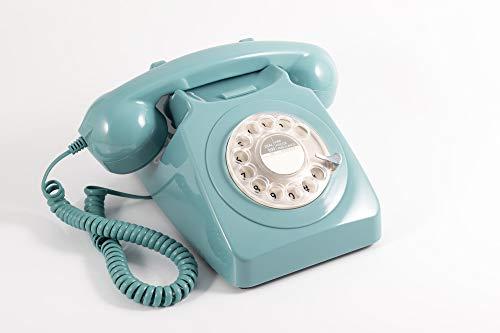 GPO 746ROTARYBLU Retro Telefon mit Wählscheibe im 70er Jahre Design Blau