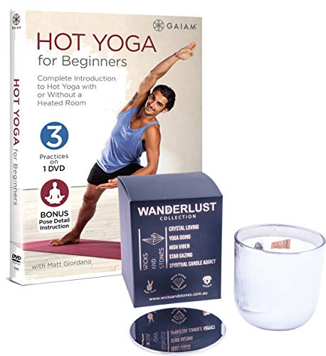 Stretch and Calm Hot Yoga for Beginners DVD with Wicks and Stones Meditation Agate Crystal Soy Candle Zesty Citrus Fruits Basil & Jasmine Scented Bundle 6+ Hours Burn Time